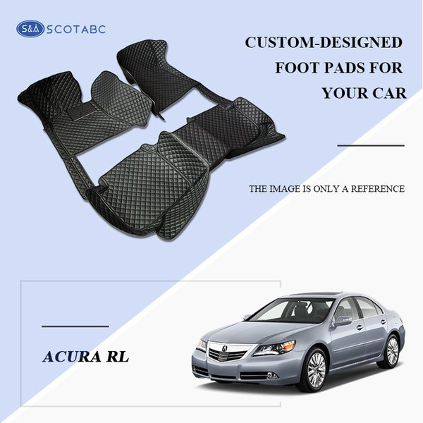 SCOTABC Custom Fit Front & Rear Car Foot Pads Leather Car Floor Mats FloorLiner for Acura RL,All Weather Waterproof 3D Non-Slip Carpets
