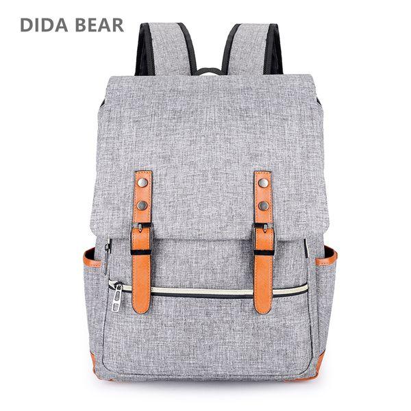 uggage Bags Backpacks DIDA BEAR Vintage Men Women Canvas Backpacks For Teenage Girls School Bags Large Laptop Backpack Mochilas Fashion M...