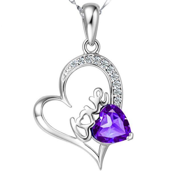 Collier pendentif coeur cristal top mode classe améthyste declaration rose