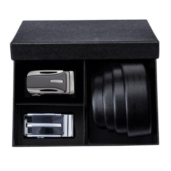 PB-01 Barry.Wang 2018 Best Recommends Herrengürtel-Sets in schwarzer Geschenkbox Luxusgürtel aus echtem Leder für Herren