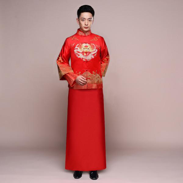 Estilo chino Boda trajes de tostadas para hombre Vestido rojo bordado novio por la noche Vestido largo kimono novio chaqueta traje de tang Ropa