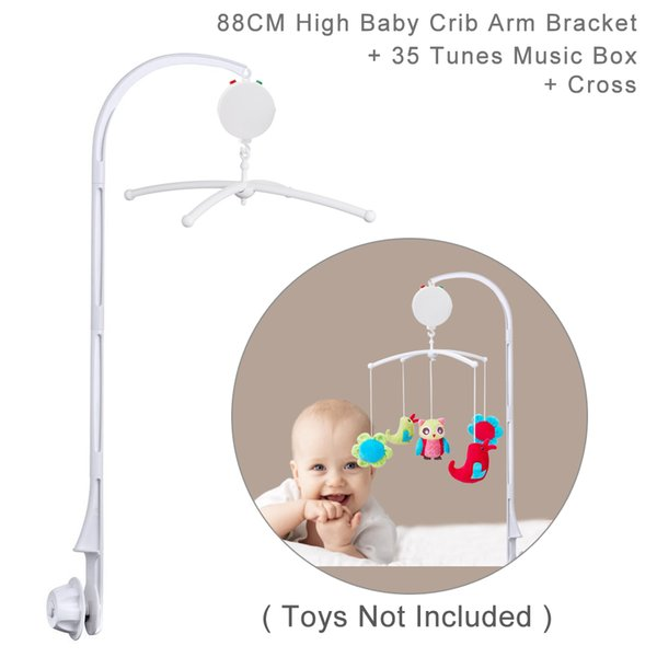 88CM ( 35 inch) High Baby Crib Bed Bell Toys Holder Arm Bracket, Nut Screw, W/ Cross & 35 Tunes Electrical Music Box (Toys Not Included)