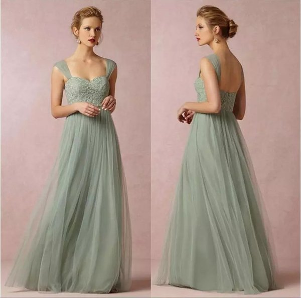 Sage Green Lace Bridesmaid Dresses Princess Long A-line Sweetheart Cap Sleeves Tulle Wedding Party Gowns with Lace Floor Length Prom Dresses
