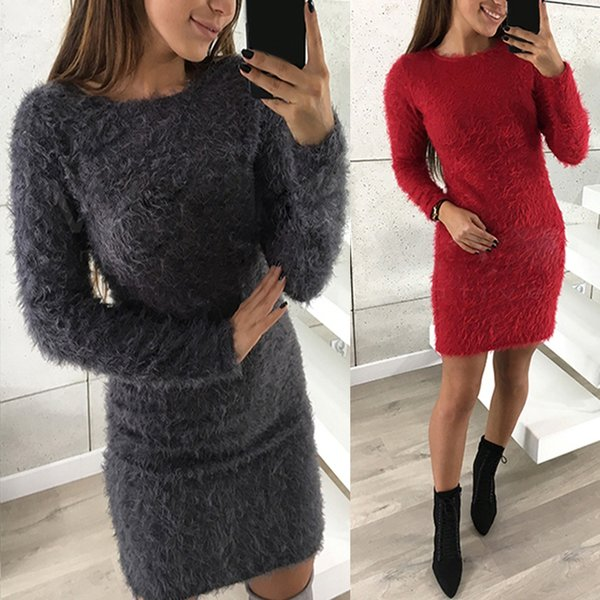 2019 Women Long Sweater Dress 2018 Autumn Winter Sexy Bodycon Dress Casual  O Neck Long Sleeve Stretch Pullover Top Sweaters Vestidos S18100803 From