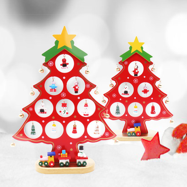 BITFLY Christmas tree New year festival party wood crafts Home DIY table decoration wood ornaments kids gifts favor doll tree