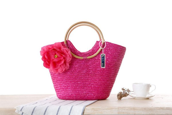 New Anti-Lost Rattan Handle Woven Bag Flower Hand-Woven Straw Bag Beach Bag