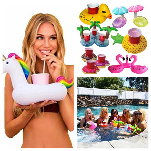 best selling Flamingo Cup Holder Swimming Pool Toys For Baby Kids Drink Inflatable Donut Float Toy Party Accessories CNY20