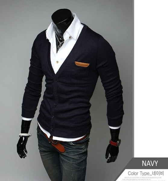 2016 new arrival Men's clothing slim thin Metrosexual cardigan male Solid color V collar long-sleeve sweater & jacket in 8 Color