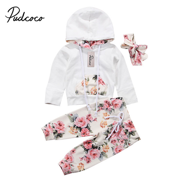 Newborn Baby Girls Clothes Autumn Spring Floral Hooded Sweatshirt Tops Pants Infant Kids Sport Outfits Sets Tracksuit Clothing