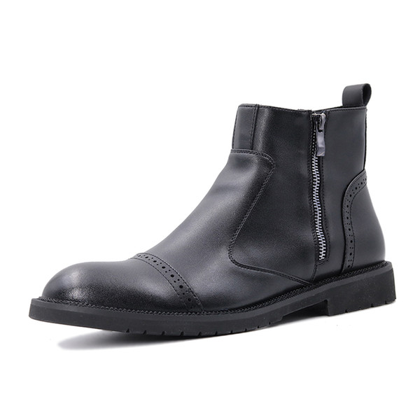 Army Style Waterproof Zipper Military Boot,Men's Rubber Ankle Boot,High Grade Soft Microfiber Leather Brogues Casual Shoes
