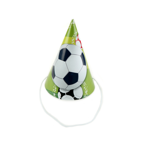 6pcs/lot Cartoon Football theme happy birthday cap for Birthday Party Supplies for Kids Event Party Decoration hats