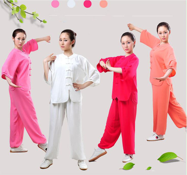 Tracksuits Chinese Fighting style 3 Quarter Sleeve Tai chi clothing uniform kungfu outfit Moring exercise suits for women girl Top + Pants