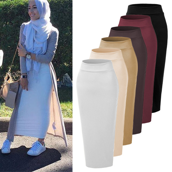 best selling 2019 Newest Long Ankle Length Quality Pencil Style 6 Colors Muslim Maxi Skirt pencil skirt Islmaic Lady Skirts