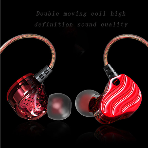 New style Intelligence wired control with mic double moving coil 4 unit vocalization bass stereo denoise earphone HIFI tone quality HD voice