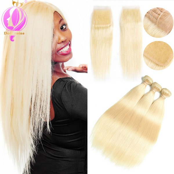 Brazilian Hair 613 Blonde Straight Weave Human Hair Bundles with Closure 3PC Remy Hair and 1PC Lace Frontal Closure
