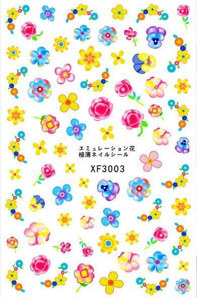 XF series original nail art sticker 3d without the paper card each model need over 5pcs