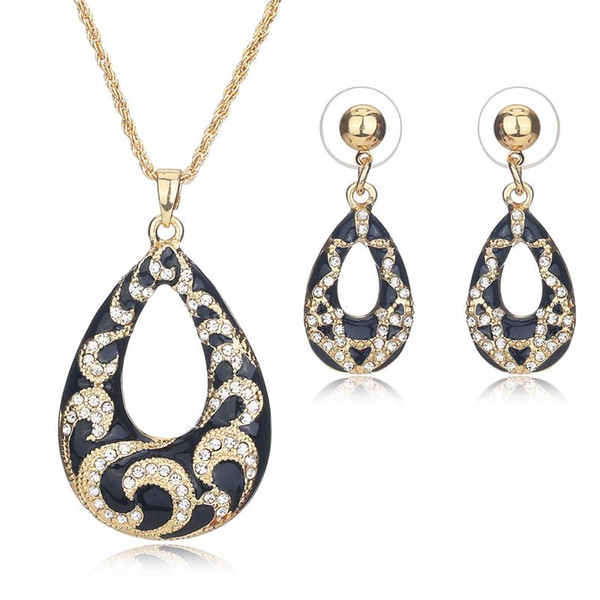 AYAYOO Nupcial Conjuntos de Jóias Imitação de Cristal Strass Cor de Ouro Conjunto de Jóias Mulheres Africano Nigeriano Beads Casamento