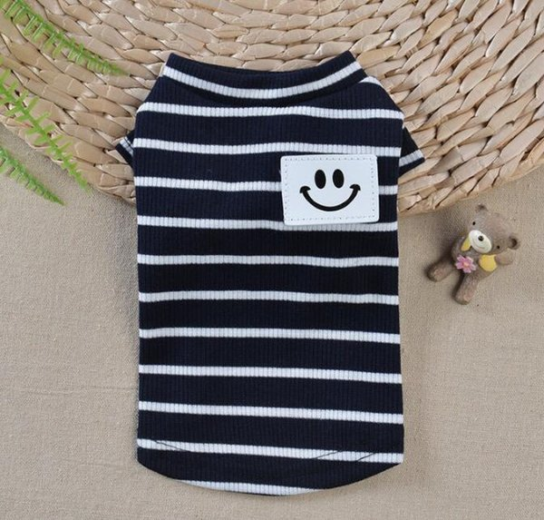 Lovely Puggy Dog Striped Clothes Small Dogs Teddy Bichon Prince Princess Dog Cat Dress T Shirt 2018 Summer Pet Dog Clothes Top Quality