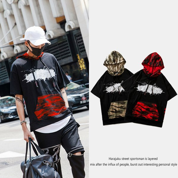 Street Hip-hop Short Sleeve Sweater Male Even Hat Easy Thin Tide Card Men's Wear Jacket Even Hat Short Sleeve T Pity Male