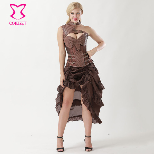 2019 Brown Leather Armor Corpetes E Espartilhos Plus Size Gothic Clothing  Vintage Corset Dresses Corsets And Bustiers Steampunk Dress From My11, ...