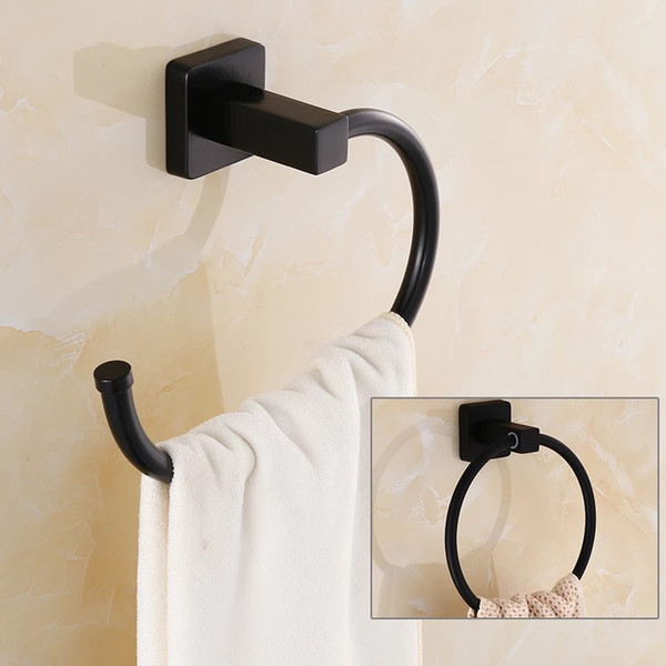 top popular Black antique Wall Mounted Stainless Steel Toilet Towel Ring Bath Towel Holder Bathroom Accessories Bath Hardware 2021