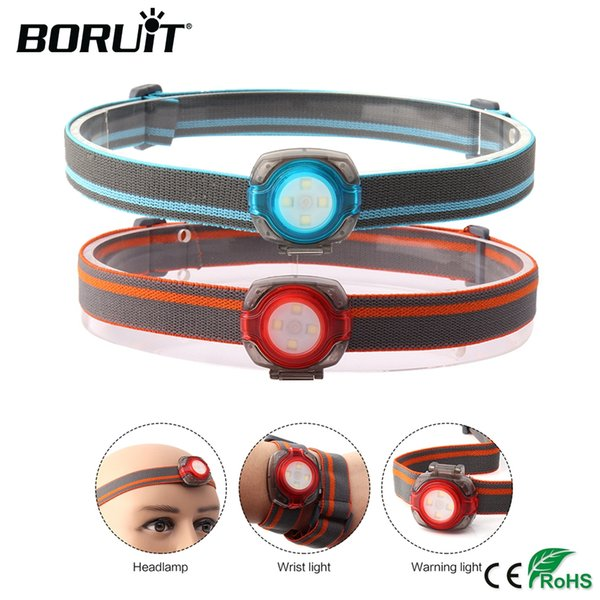 BORUiT Mini Headlight Waterproof Headlamp Frontale  4-Mode Camping Lights Lanterna Front with 2025 Button Battery
