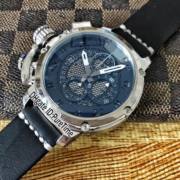 New U51 Chimera Steel Case Black Skeleton Dial White Subdial Miyota Quartz Chronograph Mens Watch Stopwatch Left-handed Watch Leather UB63