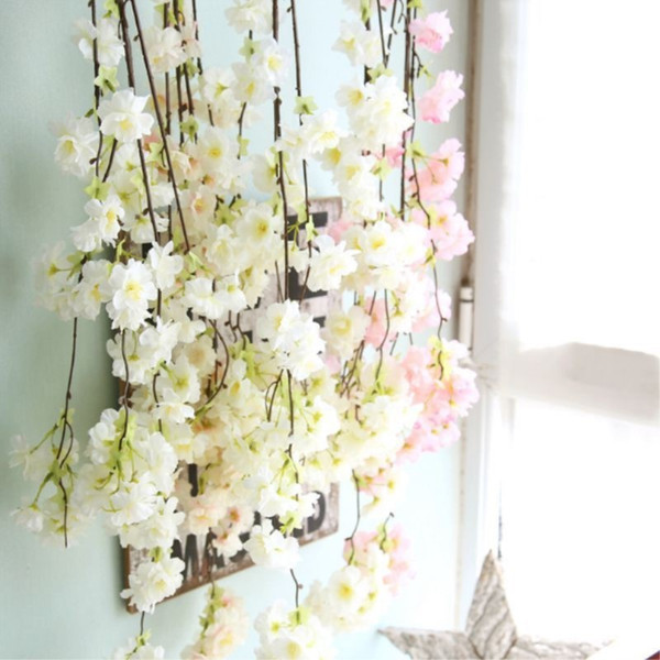 Artificial Flowers Vine Cherry Blossoms Flower Vine Hanging for Wedding Decoration DIY Party Home Garden Christmas Decor