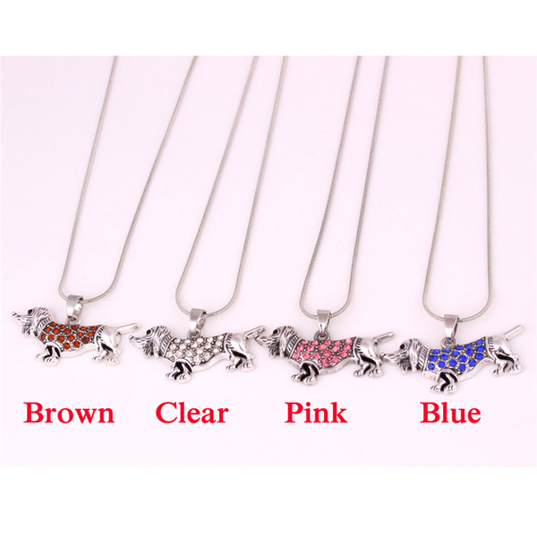 Pendant Necklace For Unisex The Dachshund Dog Pattern With Sparkling Crystal Dog Lovers Gift Snake Chain Zinc Alloy Dropshipping