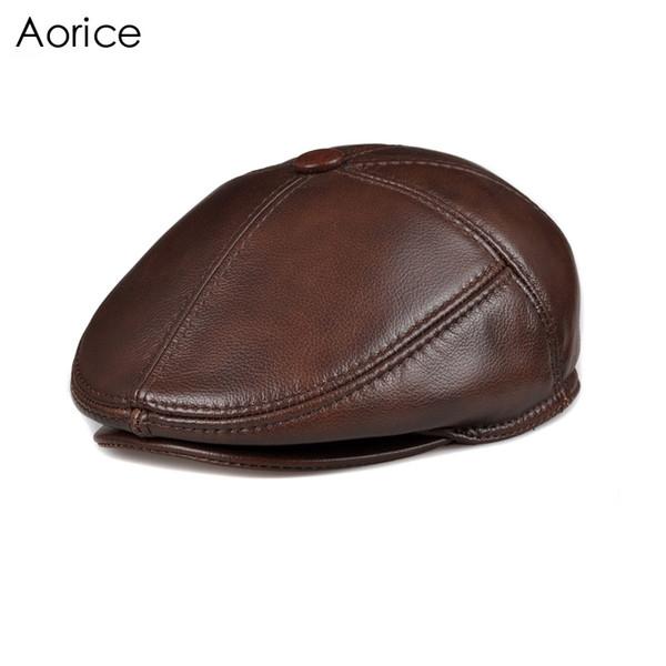 Aorice hombres de cuero genuino boinas gorra sombreros ajustables sombreros de alta calidad de adultos de moda de cuero de los hombres gorros HL093-2