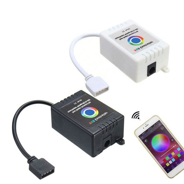 White/Black 12-24V Wireless Bluetooth Music Smartphone App Remote RGB Controller For 5050 RGB LED Strip For IOS For Android