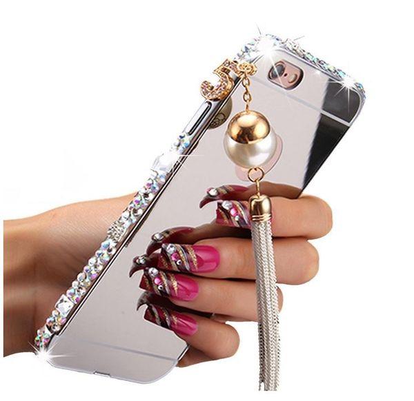 Tassels Pendant 3D Luxury Bling Diamonds Cassa in alluminio per paraurti in metallo con copri-specchio posteriore per iPhone 5 5S 6 / 6S