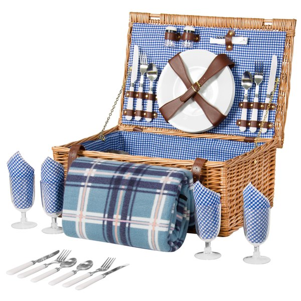 4 Kişi Hasır Piknik Sepeti W / Çatal, Tabak, Bardak, Sofra Battaniye