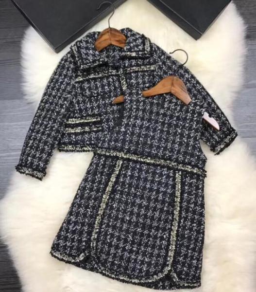 2 piezas 2018 Bebés conjunto invierno cálido prendas de abrigo Niños de lujo Princesa de Lana Vestido de solapa + chaleco vestido Ropa para niños 2colors