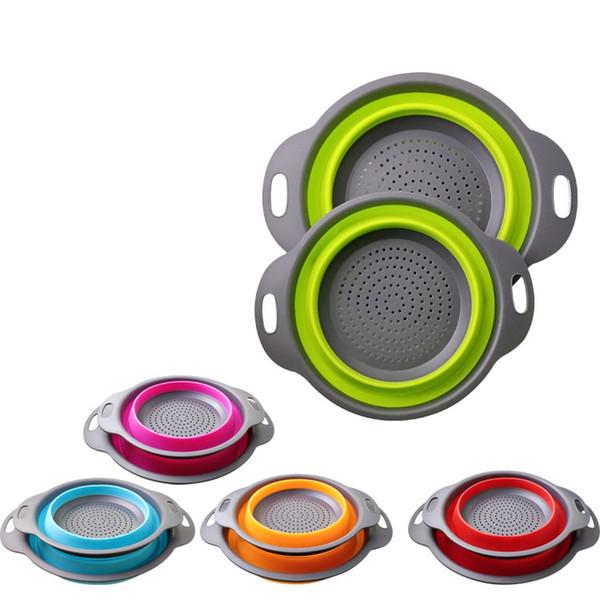 Colador cesta de herramientas de cocina plegable Colador creativo cesta de desagüe Vegetales filtro de cesta de lavado de fruta 50sets / lot T2I263