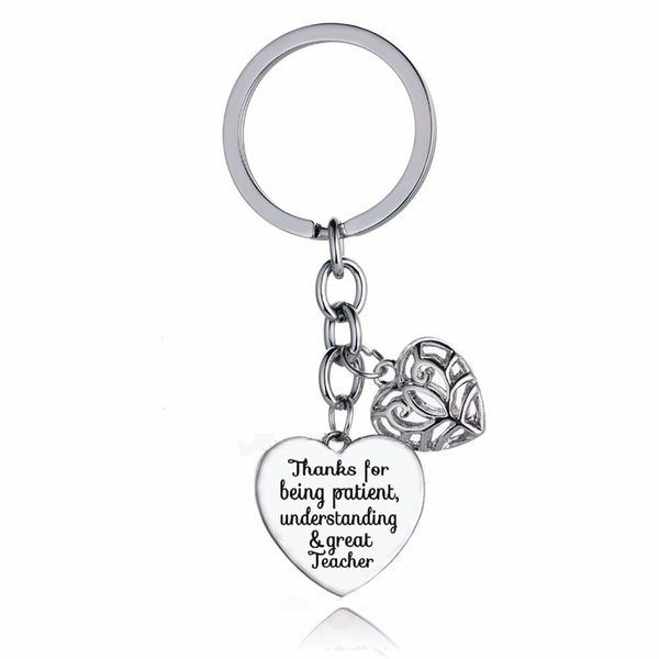 12PC/Lot Thanks For Being Patient Understanding Great&Teacher Key Chains Rings Gifts Love Heart Charms