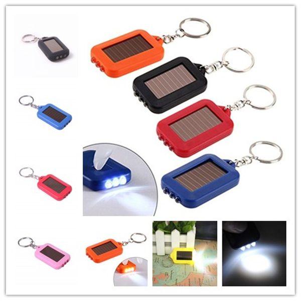 LED KEYCHAIN LIGHT FLASHLIGHT Emergency 3 LED Torch Flashlight of Key Fob Solar Energy Power Keychain Lamp Light