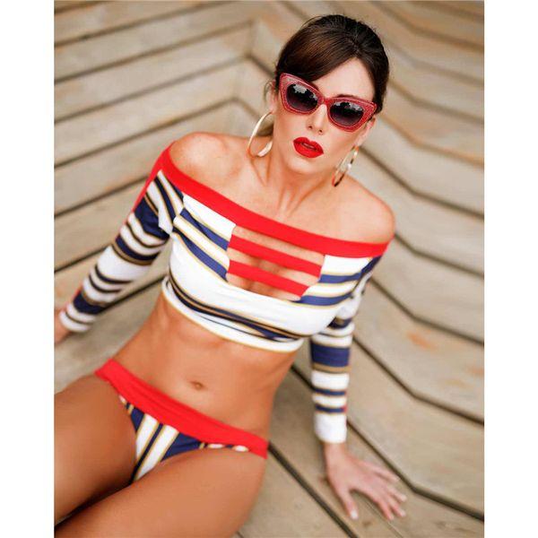 2018 Sexy Striped Bikinis Off Shoulder Swimsuit Women Crop Tops Swimwear Brazillian Bikini Set Female Bathing Suit Beach Wear