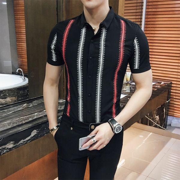 Nice Summer Men Short Sleeve Shirt British Style Striped Shirt Mens Slim Fit Casual Thin Social Shirts Mens Clothing Black/White
