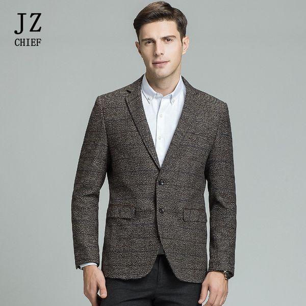 JZ CHIEF Men's Wool Blazer Striped Jacket Elbow Patch Blazer High Quality Tweed Blazers Coat Business Casual Overcoat Plus Size