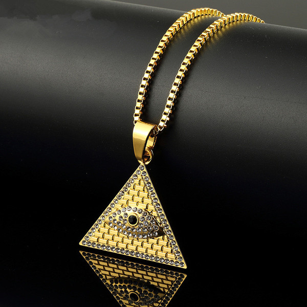 Fashion Men Hip Hop Jewelry Pendant Necklaces Eye of Horus Pyramid Punk Rock Rap 18k Gold Plated 60cm Long Chain