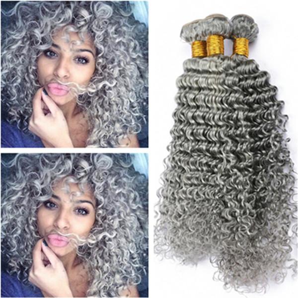 Virgin Indian Cabello Humano Onda Profunda Paquetes de Color Gris Ofertas 4 Unidslote Gris Plata Virginal Virgin Hair Weaving Profundo Ondulado Teje Extensiones