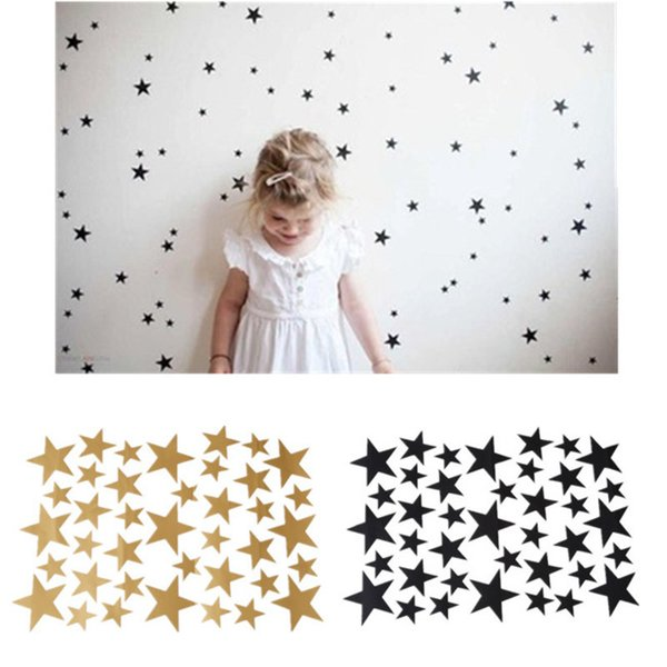 39pcs Stars Pattern Vinyl Wall Art Decals Nursery Room Removable Decoration Wall Stickers for Kids Rooms Home Decor KO893920