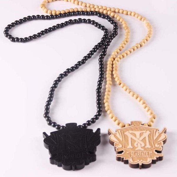 Fashion Wood Made Stylish Pendant Hip Hop Beads Long Chain Men Wooden Pendants Necklaces Jewelry Gift