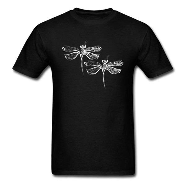 Art Design Dragonflies On Men's Black T Shirt Quality Cotton Top Clothing Simple Casual Summer Birthday Gift T Shirt