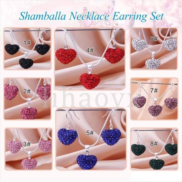 Free Shipping New Arrival Fashion Rose Crystal Heart Pedant Shamballa Necklace earring set lot Rhinestones Ball Bead JEWELLRY C032