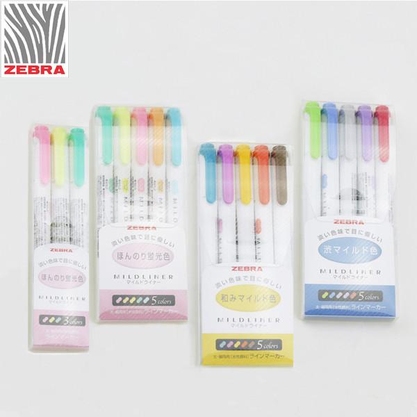 3pcs/set or 5pcs/set Japanese stationery zebra Mild liner double headed fluorescent pen hook pen color Mark cute
