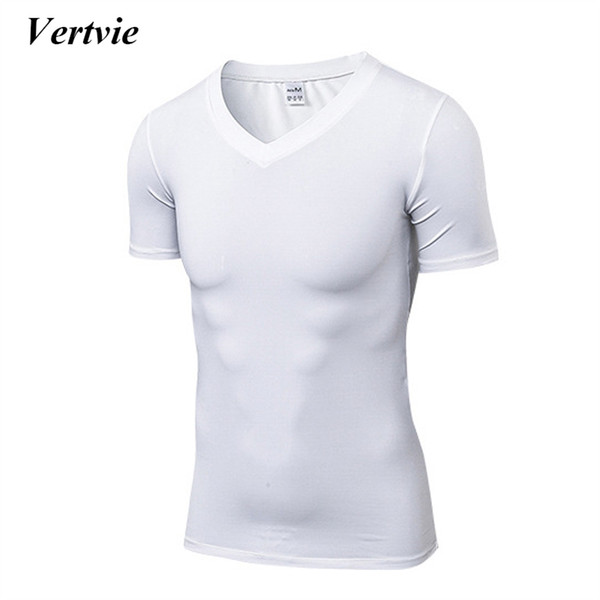 Vertvie Brand V Neck Solid Color T-shirts Running Short Sleeve Male Tees Shirt Men Sports Top Quick Dry Running Sport Tees