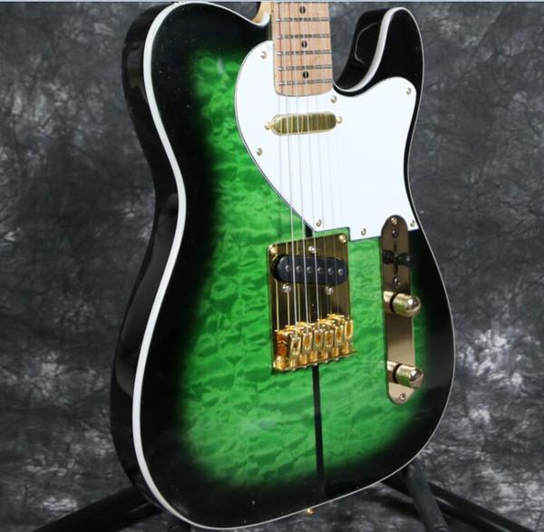 Custom Merle Haggard Tuff Dog Tele TL Green Sunburst Quilted Maple Top Electric Guitar Maple Neck & Fingerboard, String Thru Body Bridge