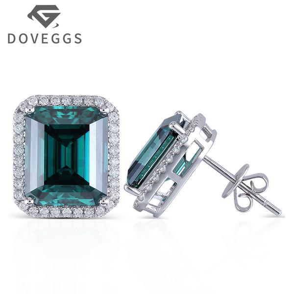 DOVEGGS 14K 585 or blanc centre 8X10mm émeraude verte boucles d'oreilles moissanite avec accents repoussent pour femme